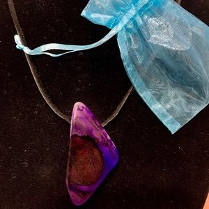 Beautiful stained sea glass necklace